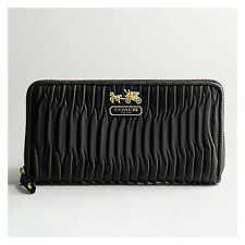 NEW $250 Coach Black Madison Gathered Leather Zip Wallet Accordion AUTHENTIC
