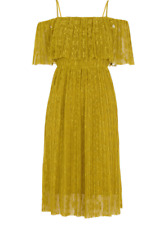 Whistles Off Shoulder Pleated Dress Yellow/Green Ladies Size UK 4 *REF155