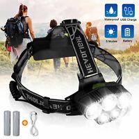 Waterproof T6 LED Headlamp Rechargeable Headlight 18650 Flashlight Head Torch US
