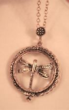 Vintage-Look Filigree Dragonfly Slider Locket Magnifying Glass Goldtone Necklace