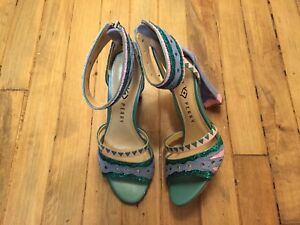 KATY PERRY THE KAI SUEDE OPEN TOE ANKLE STRAP HEELED SHOES NWOB SIZE 7.5