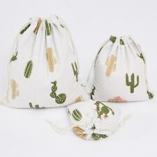 Cotton Linen Drawstring Bag Party Gift Pouch Printed Cactus 3 sizes Choosing S