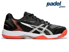 Mens Asics GEL-PADEL EXCLUSIVE SG Tennis Trainers Squash Black Silver - 2019