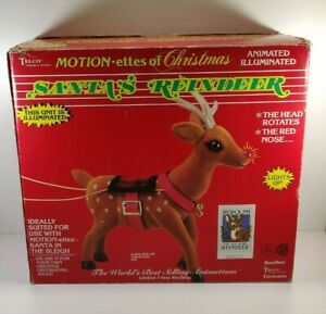 """Telco Santa's Reindeer Motionette Lights Up Rudolph Christmas in Box 16"""" Tall"""