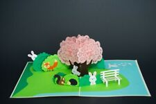 3D POP UP GREETING CARDS ZOO ANIMALS PINK TREE. US SHIPPING