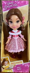 NEW Disney Princess Mini Posable Belle Pink Sparkle Dress Toddler Doll Figurine