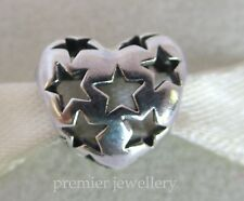 Authentic Genuine  Pandora Sterling Silver Starry Heart Charm 791393