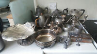 JOB LOT ANTIQUE / VINTAGE SILVER PLATE & PEWTER DISHES - TEAPOTS- TANKARDS ETC 2