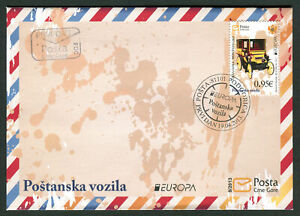 MONTENEGRO - First Day Cover with RARE Stamp: Postal Vehicle 2013