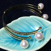 Gorgeous White South Sea Pearl Cuff Bangle 14K Yellow Gold Plated