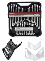 32 Piece Combination Wrench Tool Set Mechanics Metric and SAE Standard Stubby