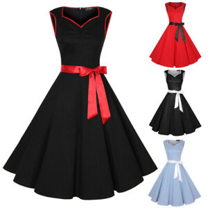 Women's Sleeveless Vintage 1950s Party Cocktail Dresses Rockabilly A-line Dress