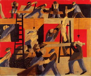 Jacob Lawrence The Builders Poster Reproduction Paintings Giclee Canvas Print