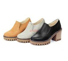 Fashion Platform Block Chunky Heel Brogues Slip On Womens Pumps Shoes US Size