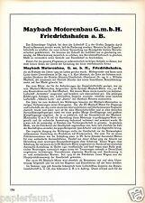 Maybach Zeppelin Friedrichshafen Reklame Historie 1926 Motorenbau Motoren AG ad