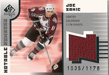 2001-2002 SP Authentic JOE SAKIC Jersey card 1035/1178
