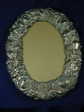 """VICTORIAN OVAL SILVER PLATE PICTURE FRAME W/ EMBOSSED FRUIT  ORNATE 13-1/2 X 11"""""""