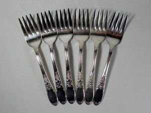 International Silver Burgundy Silverplate Set of 6 Individual Salad Forks