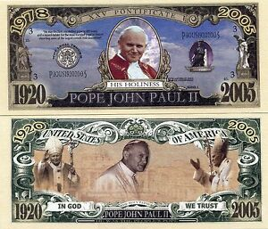 Pope Saint John Paul II Commemorative Bill Novelty Note Terrific Fun Gift