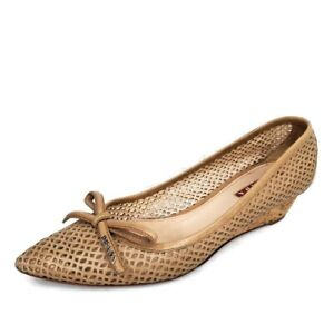 Prada Logo Taupe Perforated Leather Cork Low Wedge Pointy Toe Shoes Size 36 EU
