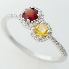 SOLID WHITE GOLD NATURAL 40 DIAMOND GARNET & CITRINE RING. DISTINCTIVE DESIGN.