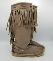 Hector Riccione Indianino Fringed Leather Moccasin Boots 6 Taupe Italy