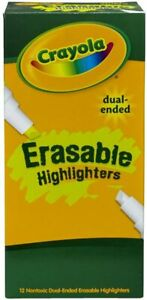 Crayola Dual-Ended Erasable Highlighter 12 Pack  School Office Supplies