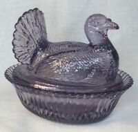 Boyd Art Glass Purple Valor Turkey On Nest
