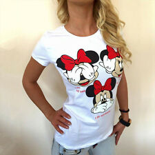 Casual Mickey Mouse Tee Shirt Women Slim Fit Summer Short Sleeve Blouse Tops UK