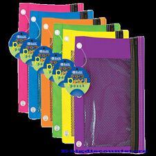 Bazic 3-Ring Pencil Pouch cases with Mesh Window Bright Colors wholesales price