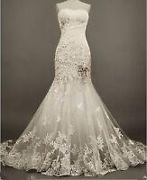 Wedding Dress Lace White/Ivory Bridal Gown Custom Size: 6 8 10 12 14 16 18