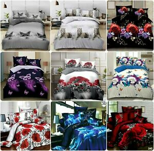New 3D Printed complete sets Duvet Cover Set with fitted Sheet & 2 Pillowcase
