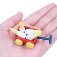 1:12 Dollhouse miniature model outdoor toy accessories wooden bowling trolley JC