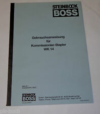 Betriebsanleitung Boss Steinbock Hubwagen Gabelstapler Ameise WK 14 / WK14