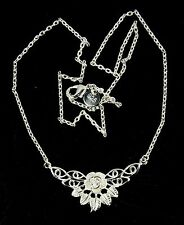 Women's 925 silver plated necklace flower pendant Jewellery