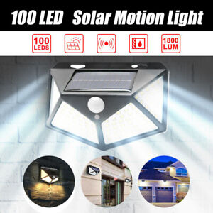 100 LED Motion Solar Light Sensor Lights Outdoor Security Safety Home Wall Lamp
