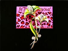 Calla lily Women's Brooch Pin Fashion Jewelry Betsey Johnson Enamel Crystal