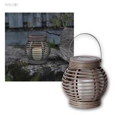 Solarlampe / Solar LED Laterne mit Kerze, Gartenleuchte Weidenkorb Optik Lantern