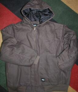 2xl key Insulate duck heavy duty work jacket zipper waterproof hood hoodie BROWN