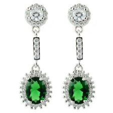 Lady 18K White Gold Plated Cubic Zirconia Oval Cut Green Emerald Drop Earrings