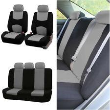 9pcs Car Seat Covers Gray+Black 5-Seats Full Set Universal For Honda Toyota Ford