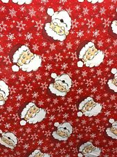 RED MULTICOLOR SANTA CLAUS PRINTED 100% COTTON FABRIC (60 in.) Sold By The Yard