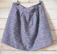 Marcs A Line Skirt Size 12 Blue White Pink Stripe Metallic