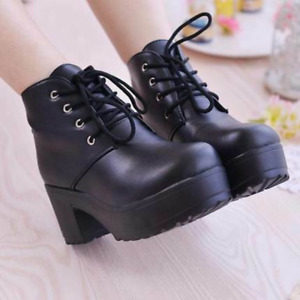 Women Lace Up Platform Block Mid Heel Ankle Boots Round Toe Riding Motorcycle