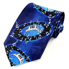 Piano Music Mens Neck Tie Pianist Blue Necktie Keyboard Note Musician Gift New
