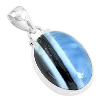 15.08cts Natural Blue Owyhee Opal 925 Sterling Silver Pendant Jewelry P46174