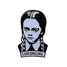 WEDNESDAY ADDAMS ENAMEL PIN I Am Smiling Clutch Back Brooch Family Campy Goth