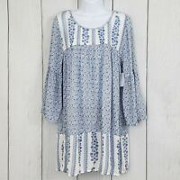 NWT BONGO size Medium Blue Floral Boho Hippie Dress Tunic Bell Sleeves Ruffled