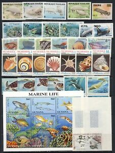 Fish and sealife mnh vf sets/sheets, imperf snorkle from N. Caledonia, 2 pages