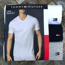 Tommy Hilfiger Men's T-Shirt 3 Pack Crew Neck V Neck White Blue Grey M L XL New